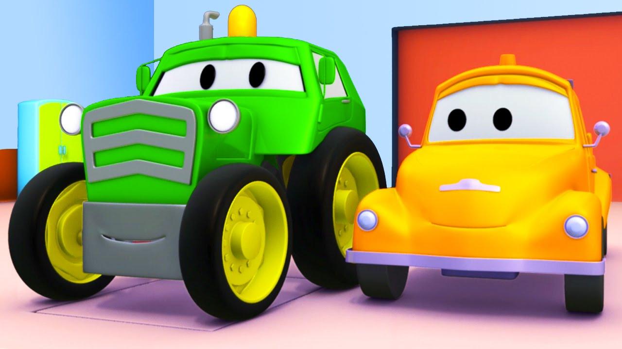 Trattore e tom il carro attrezzi in car city cartone