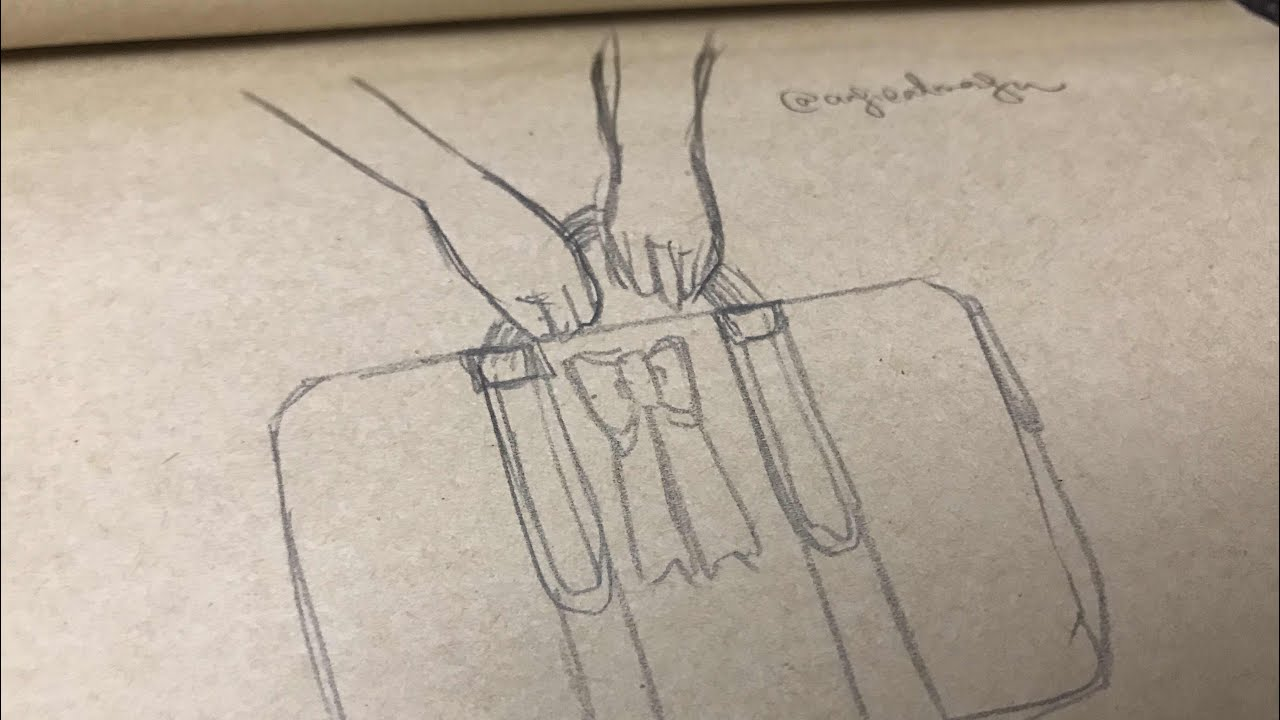 How To Draw Hand Holding Something Luggage Youtube