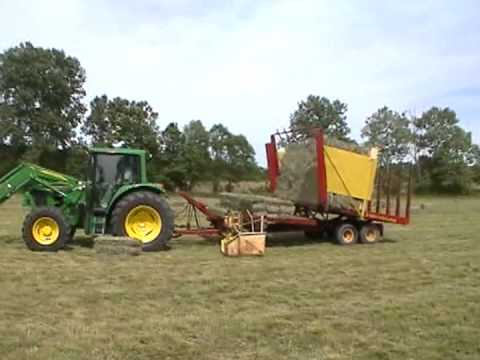 Loading Small Square Bale Hay With 1033 Balewagon