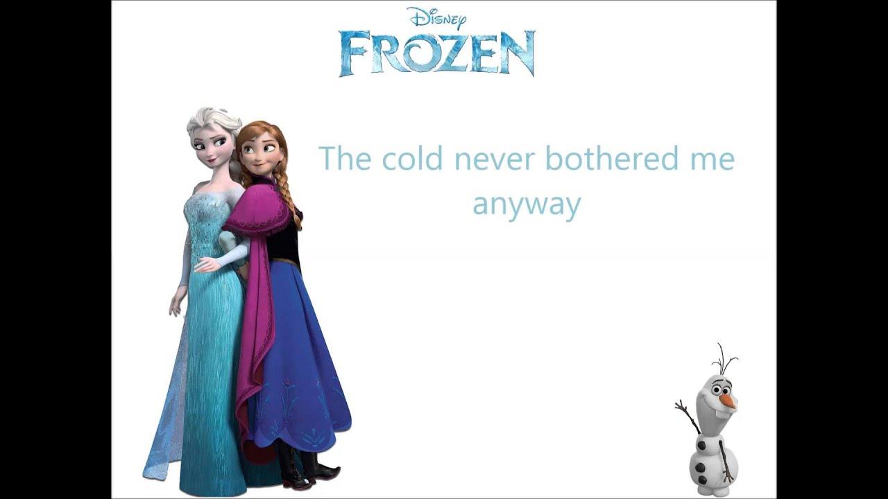 Disney's Frozen Let It Go Sequence Performed By Idina Menzel Lyrics