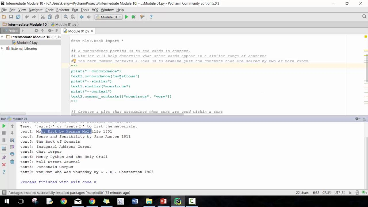 Introduction to Python NLTK Module 01