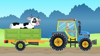 Yellow blue #Tractor - farmer's work - Expedition for a Cow | Cartoons about Tractors and farmers