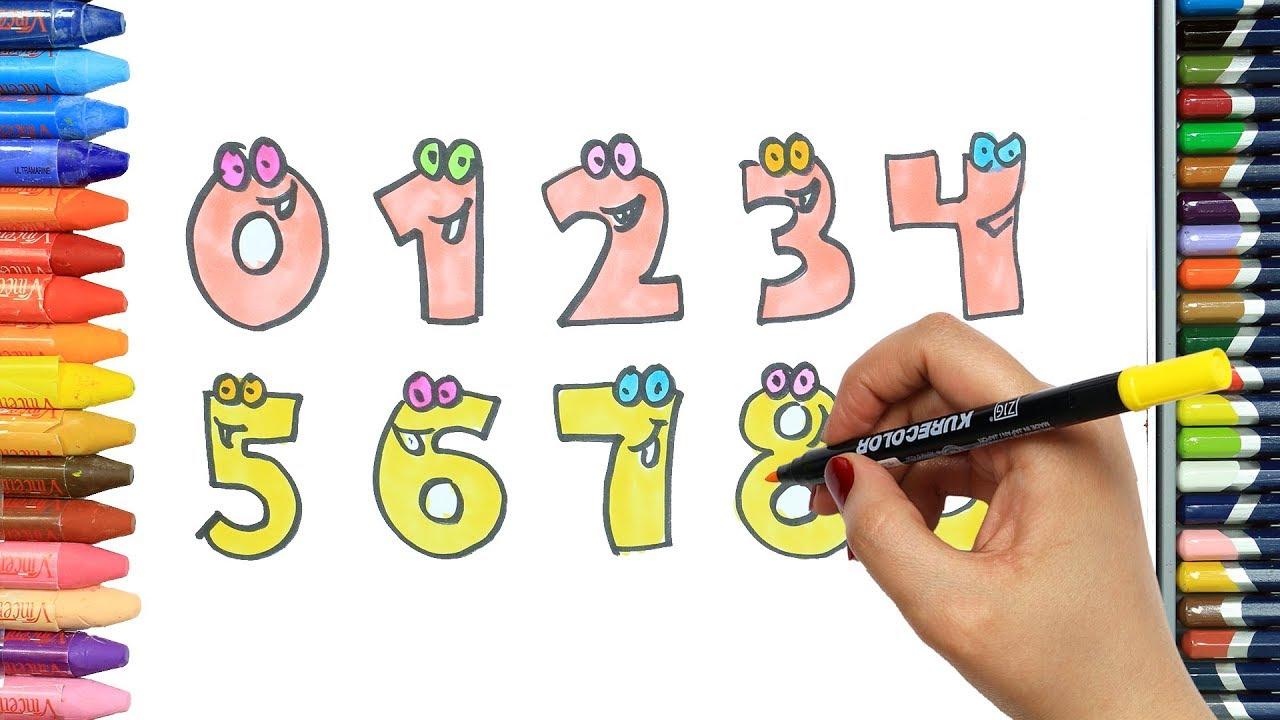 Sevimli Sayılar Nasıl çizilir Sayıları öğreniyorum Boya Boya