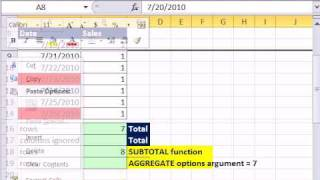 Excel 2010 Magic Trick 662: AGGREGATE function Ignores Hidden Rows for Calculations