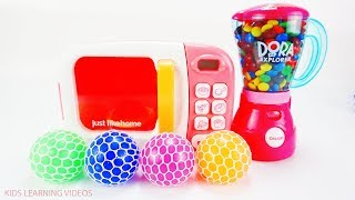 Learn Colors Rainbow Candy Squishy Balls Microwave & Blender Toys Fun Car Toys For Kids