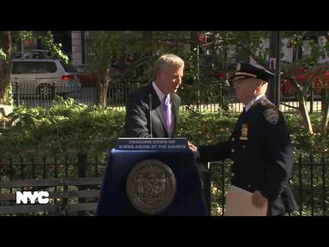 Mayor de Blasio & The NYPD Hosts Media Availability on E-Bikes Enforcement