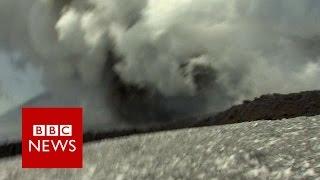 Moment BBC crew caught up in Mount Etna volcano eruption   BBC News