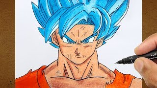 COMO DESENHAR  GOKU SUPER SAYAJIN BLUE, Dragon Ball Super COLORINDO DESENHO, How To Draw