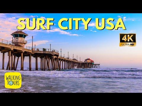 Huntington Beach Pier | Surf City USA | Walking On The Sand | 4K Walking Tour