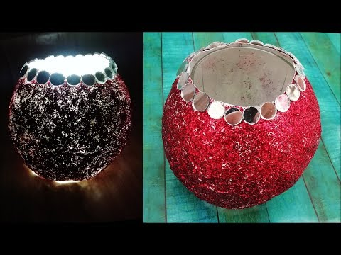 DIY Glitter Lamp - Candle Holder || Diwali Decoration Ideas || Diwali Crafts || The Blue Sea Art