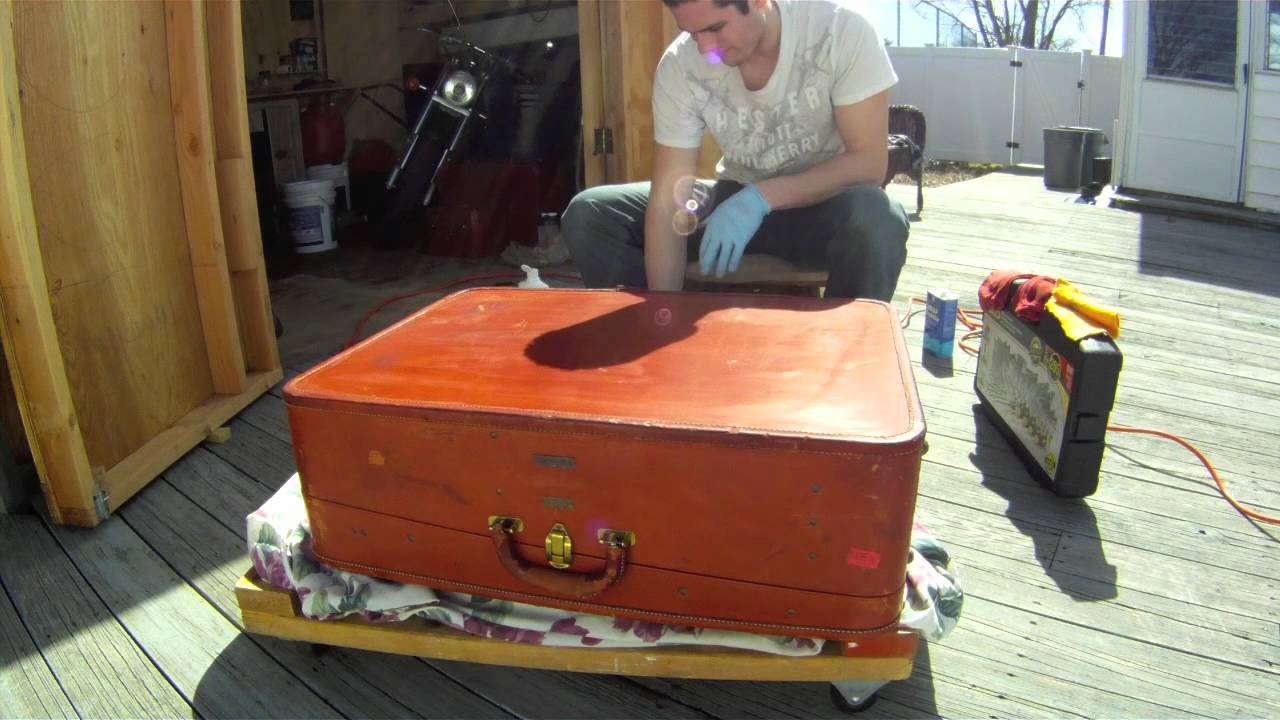Vintage (50s/60s) American Leather Suitcase Restoration - YouTube
