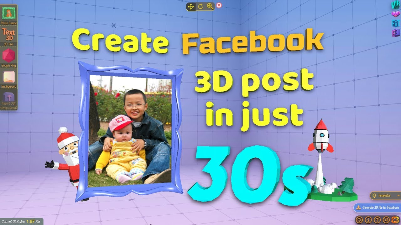 How to create Facebook 3D posts in just 30s (no 3D knowledge required) -  Easy3Dpost's tutorial