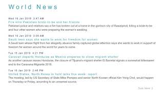 World News Headlines for 16 Jan 2019 - 8 AM Edition