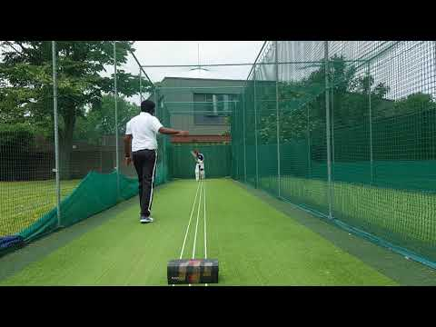 Srinath bowling to Shareef in the Nets