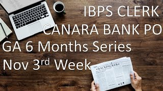 Current Affairs 6 months series    Nov 3rd week    IBPS Clerk Mains    Canara Bank PO