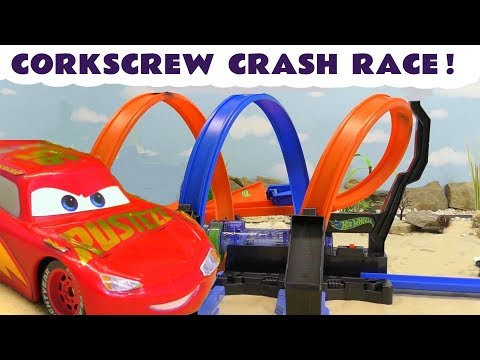 Disney Cars Lightning McQueen Corkscrew Knockout Races with Funny Funlings and Superhero cars TT4U