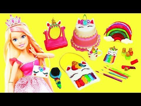 10 DIY Miniature UNICORN  Barbie DOLL CRAFTS  & Accessories  #2 - simplekidscrafts