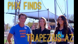 Learning how to fly on a trapeze! Lexy from Phx Finds and Cynthia from Fab AZ check out Trapezius!