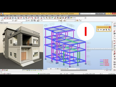 HOW TO MODEL AND DESIGN COMBINED FLAT HOUSE WITHOUT INTERIOR COLUMN - AUTODESK ROBOT 2016 TUTORIALS