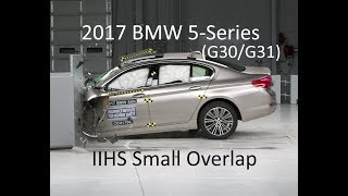 2017-2019 BMW 5-Series (540i - G30/G31) IIHS Small Overlap Crash Test (Extra Angles)