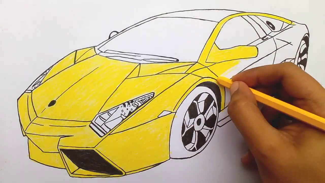colouring lamborghini car colouring pages for kids and children learn colours youtube. Black Bedroom Furniture Sets. Home Design Ideas