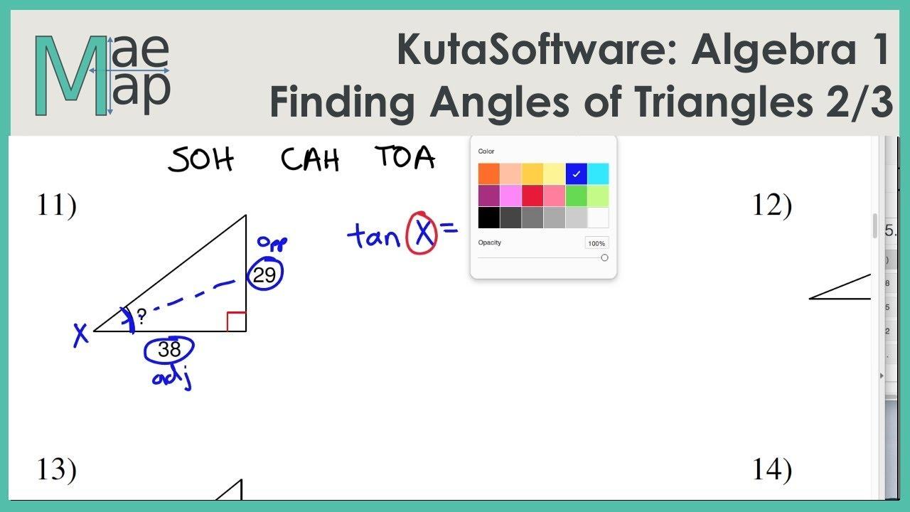 KutaSoftware: Algebra 1- Using Trigonometry To Find Angle Measure Part 2