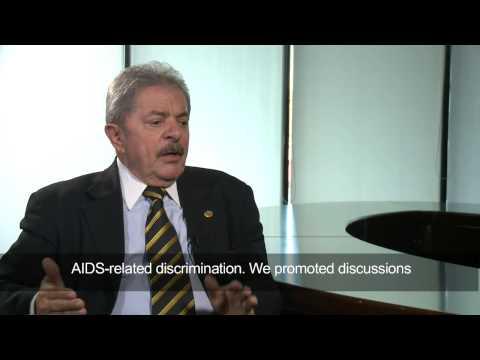 Former President of Brazil Luiz Inácio Lula da Silva speaks on AIDS epidemic