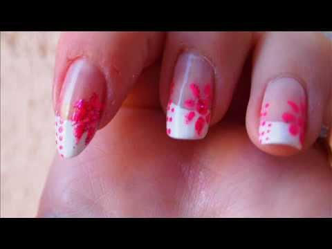 tutoriel nail art 3 french manucure rose et blanche youtube. Black Bedroom Furniture Sets. Home Design Ideas