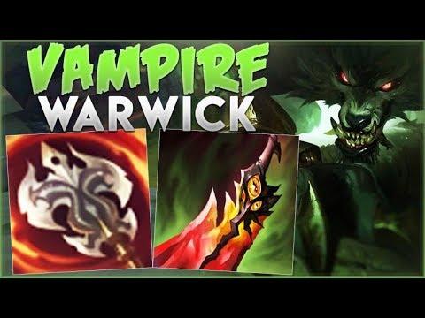 WTF! VAMPIRE WARWICK 100% HEALS FOR TOO MUCH! WARWICK SEASON 9 TOP GAMEPLAY! - League of Legends