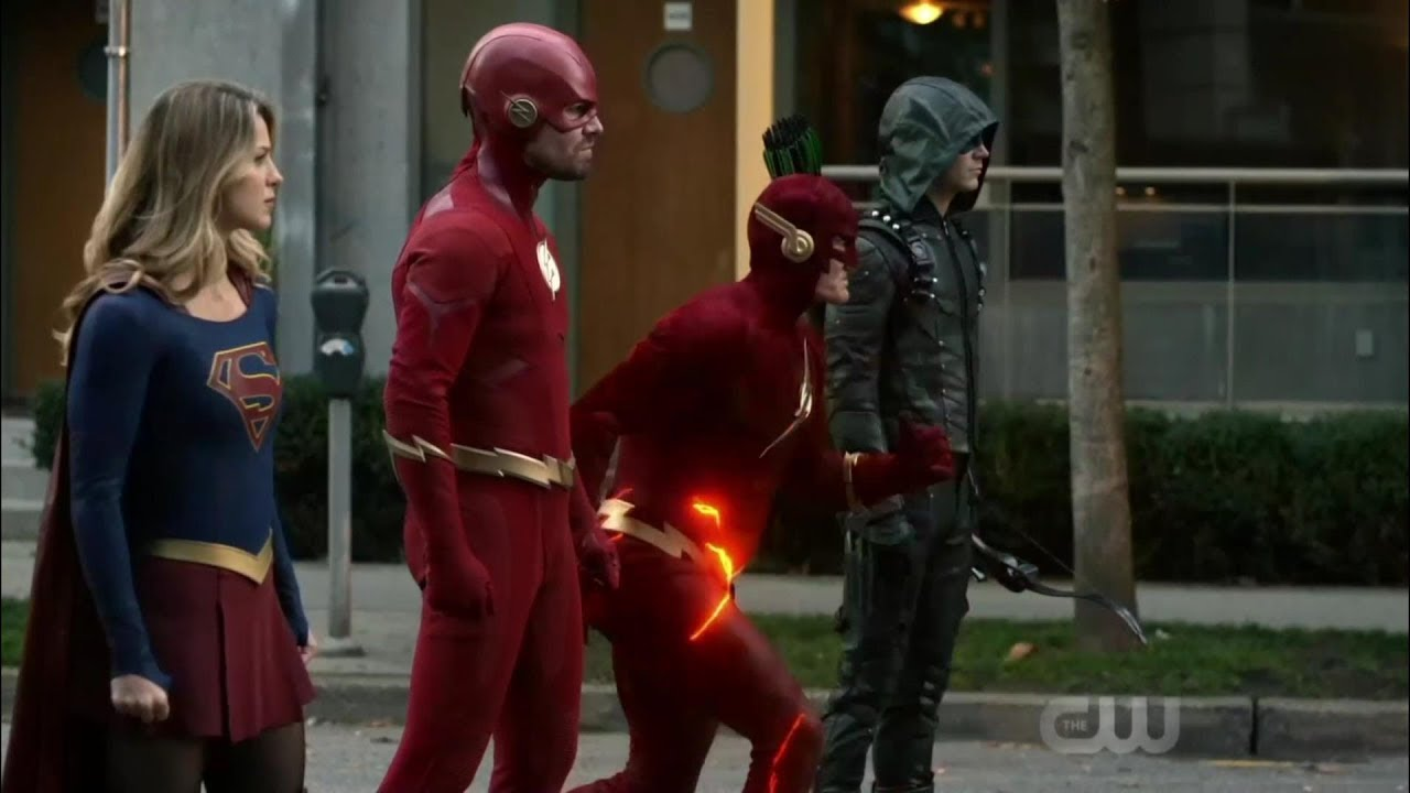 Barry from Earth 90, Oliver, Kara and Barry meet the Monitor | Elseworlds Part 2 Ending