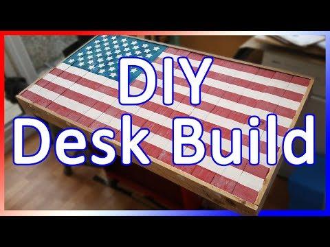 USA American Flag Desk Build Using Pallet Wood & Epoxy
