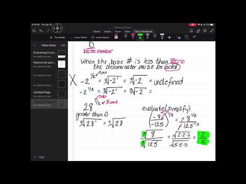Rational Exponents/ Nonperfect Nth Root Radicals