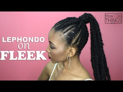 Cornrow Ponytail Tutorial | How To: Feed In Braids Ponytail | L.O.C Method for Natural Hair