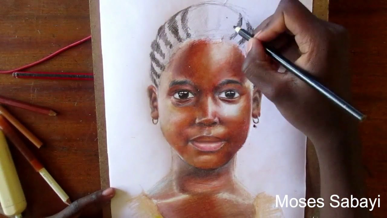 African girl child drawing colored pencil drawing inside africa 2
