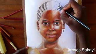 African girl child drawing || colored pencil drawing