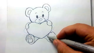 desenho livre ursinho love / Drawing little bear