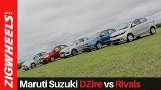 Maruti Suzuki DZire vs Xcent vs Aspire vs Ameo vs Tigor | Compact Sedans | ZigWheels.com