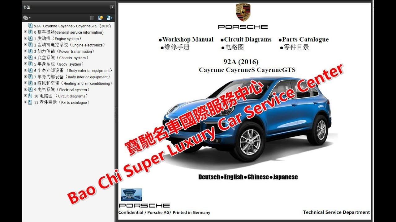 porsche cayenne 9ya 92a 9pa workshop repair manual wiring diagram owners manual [ 1280 x 720 Pixel ]