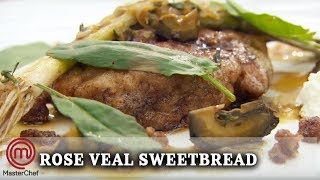 How To Make | Marcus Wareing's Rose Veal Sweetbread with Baby Leeks and Goat's Curd | MasterChef UK