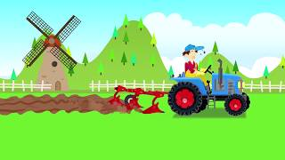 .Tractor with plow in field - Farm Work | Fairy tales agricultural vehicles | Bajka Traktor Cz 2