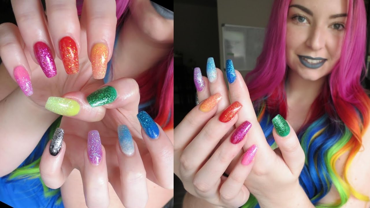 DIY Rainbow Acrylic Nails | Testing Ebay Acrylic Powders - YouTube