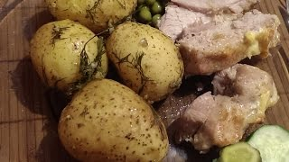 Духовая свинина запеченная в фольге, с запеченным картофелем на гарнир