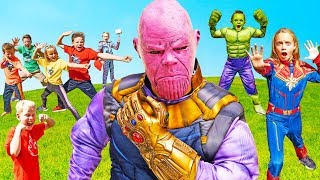 Battle with Thanos! Ninja Kidz, SuperHero Kids and the Fun Squad Team Up!