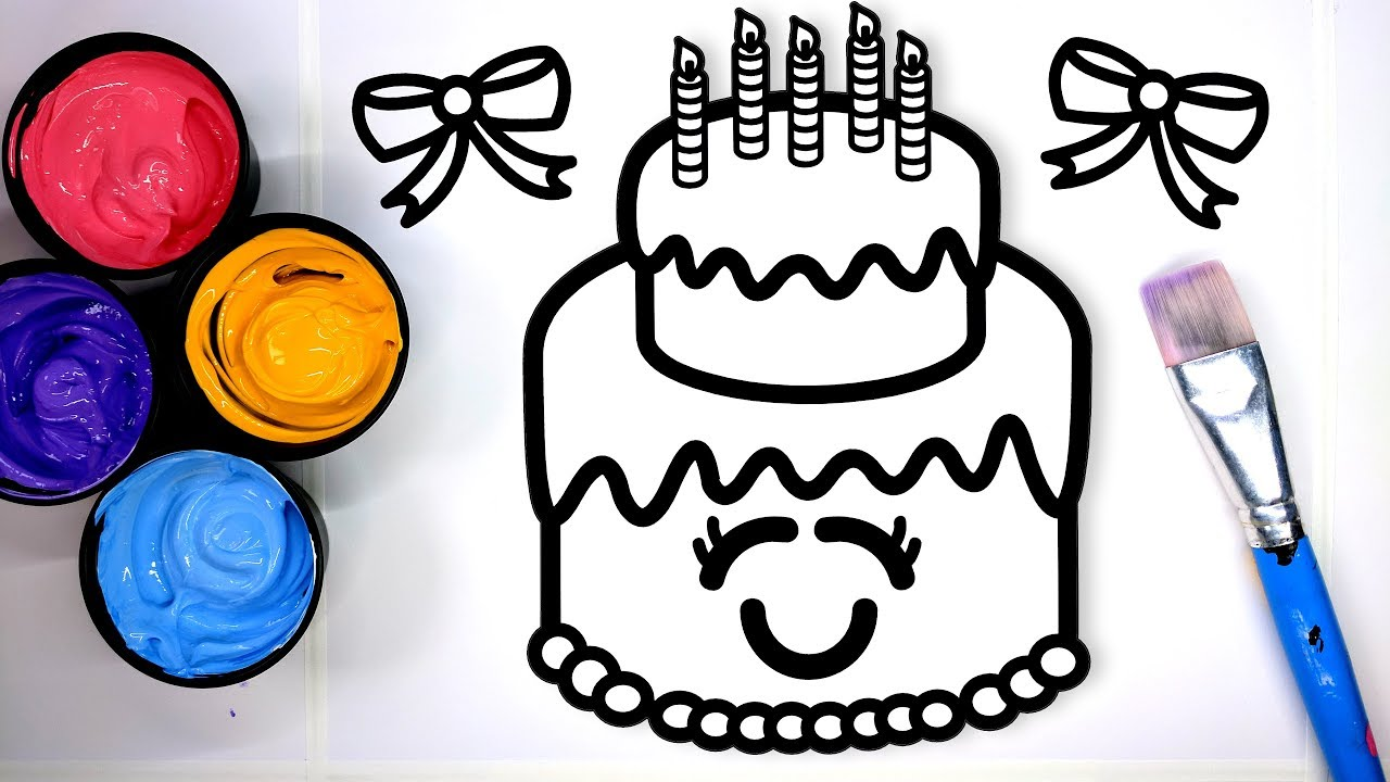 Coloring Happy Birthday Pages With Painting Learn To Color Paint