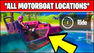 RIDE A MOTORBOAT IN DIFFERENT MATCHES *ALL MOTORBOAT LOCATIONS* (Fortnite Chapter 2 Season 1)