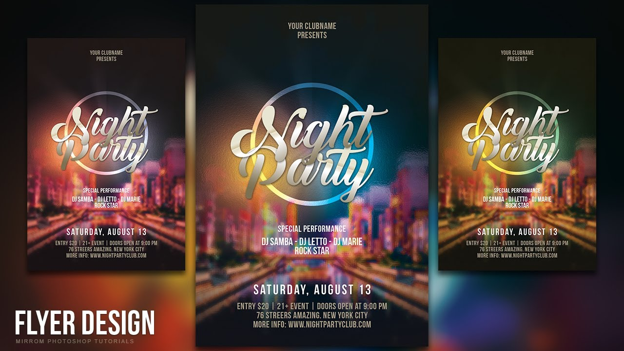 how to design a night party flyer in photoshop cc youtube