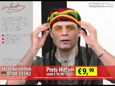 Infactory Jamaika Mütze Mit Dreadlocks Gelber Brille Youtube