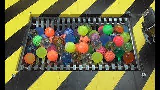 Epic What's inside 100 Bouncing Balls : Shredding Machine Crushing Balls Toys