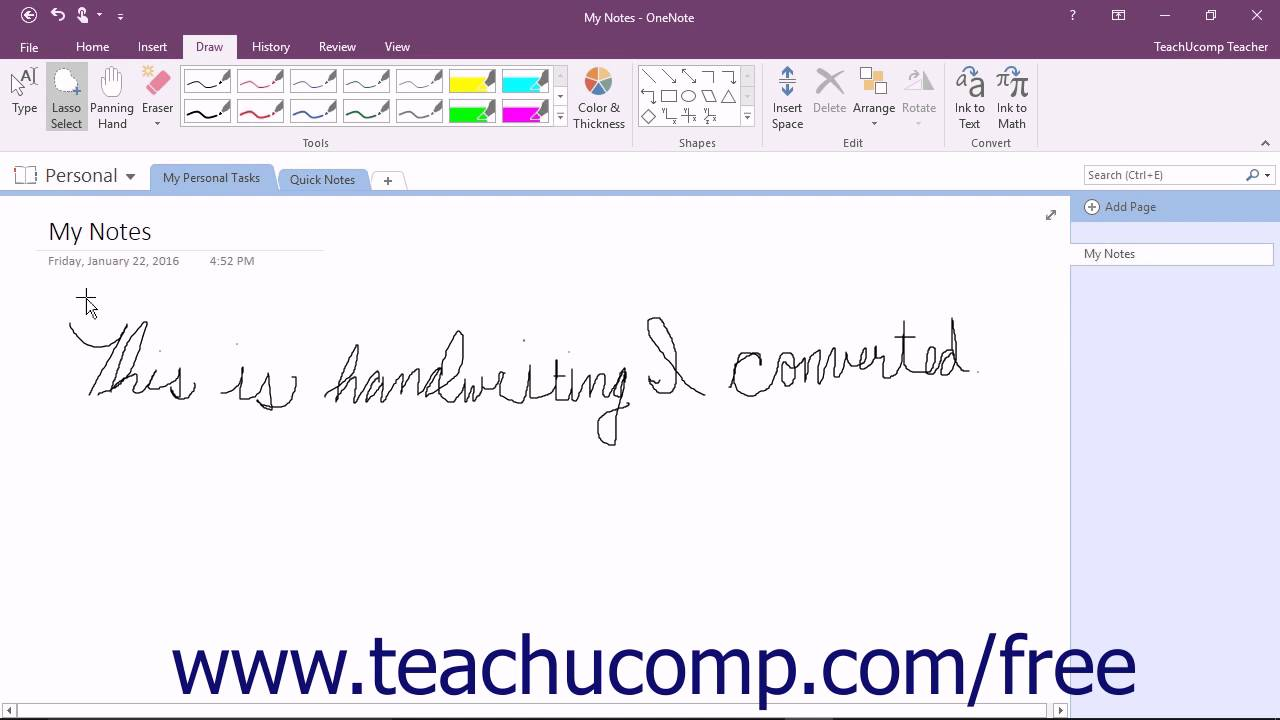 Calligraphy Input Online Onenote 2016 Tutorial Converting Handwriting To Type Microsoft Training
