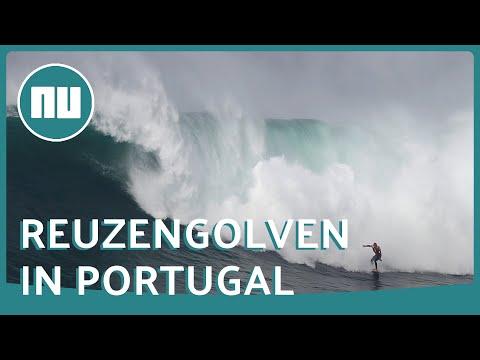 Surfers Trotseren Reuzengolven Bij Portugees Dorp Nazaré | NU.nl